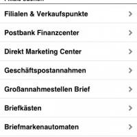 Post mobil: verschiedene Einrichtungen